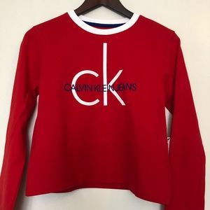 NWT Calvin Klein big spell out red cropped top S